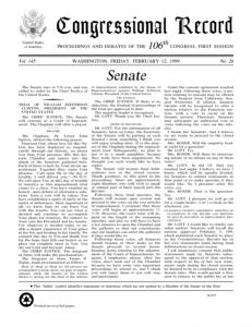 106e Congrès. Congressionnal Records, vol 145, no.66 (12 février 1999)