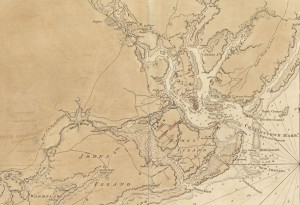 A sketch of the environs of Charleston in South Carolina (détails) Dessin de Charles Sproule (1780).