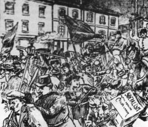 Charge de la police contre les manifestants socialistes en 1907. Dessin de J.Latour Source : La Presse (1907)