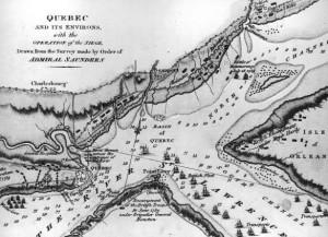 Plan du siège de Québec dessiné en 1810. Source : BANC-C14523