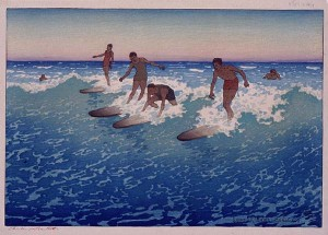 Surf-Riders, Honolulu. Xylographie couleur de Charles W. Bartlett (1919) Source : Honolulu Academy of Arts