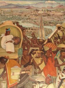 Scène du marché à Tenochtitlan. Murale de Diego Rivera. Palacio National, Mexico.