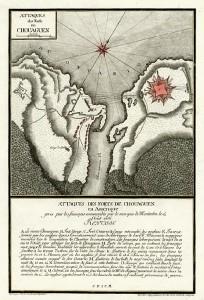 «Attaques des forts de Chouaguen en Amerique...» par le lieutenant Therbu (1789). Source : Barry Lawrence Ruderman Antique Maps Inc.