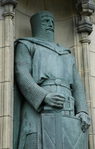 Statue de Sir William Wallace à l'entrée du Château d'Édimbourg. Sculpteur : Alexander Carrick Photo : Kjetil Bjørnsrud, 2005