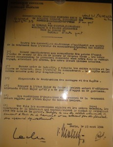 Reddition de la garnison allemande de Paris signée par le général Von Choltiz