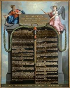 Représentation allégorique de la déclaration. Huile sur bois de Jean-Jacques-François Le Barbier (1789) Source : Musée Carnavalet