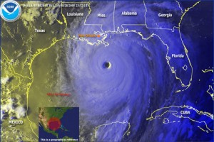 L'ouragan Katrina à l'approche de la Louisiane. Source : NOAA