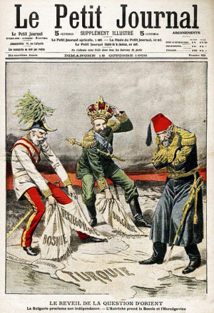 Caricature illustrant la crise des Balkans de 1908 Source : Le Petit Journal (18 octobre 1908)