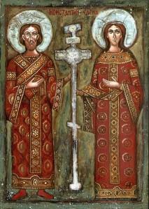 Saint Constantin et sainte Hélène. Icône bulgare traditionnelle inspirée de l'oeuvre de Zahari Zograf (XIXe siècle). Photo : Brosen (2004)