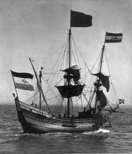 Réplique du Halve Maen donné aux Américains par les Hollandais en 1909. Photo : Stereo Travel Co. Source : Libraire du Congrès