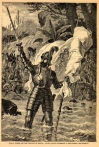 Balboa prenant possession du Pacifique Gravure anonyme (XIXe siècle)
