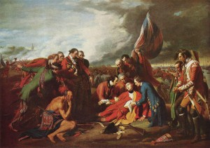The Death of General Wolfe. Huile sur toile Benjamin West (1770). Source : Wikimedia Commons