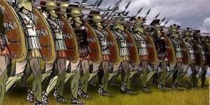 Dessin reconstituant une phalange de hoplites. Source : Wikimedia Commons