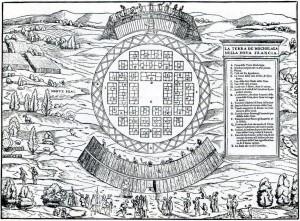 La Terra De Hochelaga Nella Nova Francia Dessin de Giacomo Gastaldi Source : Giovanni Battista Ramusio (1565)