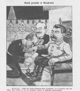 Caricature du pacte Ribbentrop-Molotov publiée dans l'hebdomadaire polonais Mucha le 8 septembre 1939