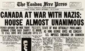 Première page du London Free Press (11 sept. 1939)