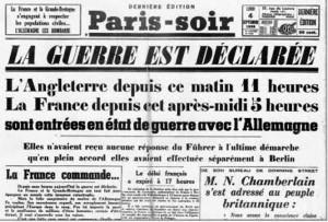 Première page de Paris-Soir le 3 septembre 1939