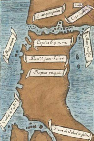 Première carte du détroit de Magellan par Antonio Pigafetta (1525) Source : Carlo Amoretti (1800)