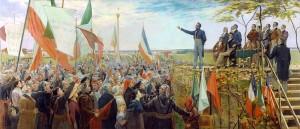 Manifestation des Canadiens contre le gouvernement anglais, à Saint-Charles, en 1837 Huile sur toile de Charles Alexander Smith (1890)