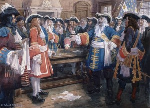 Frontenac recevant l'envoyé de sir William Phipps demandant à Québec de se rendre Aquarelle et craoyon sur bois de Charles William Jefferys (1925)