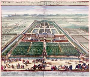 Maison royale de Ryswick où l'on a tenu les conférences de la paix générale Gravure de Jan van Vianen (1697)