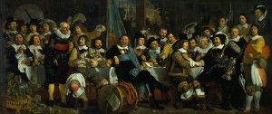 """The Celebration of the Peace of Münster, 18 June 1648 in the Headquarters of the Crossbowman's Civi  Bartholomeus van der Helst (1613-1670) Oil on canvas c1649 547 x 232 cm (17' 11.35"""" x 7' 7.34"""") Rijksmuseum (Amsterdam, Netherlands)"""