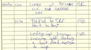 Extrait du journal maintenu à UCLA décrivant la transmission du premier message sous le contrôle de Charles S. Kline.