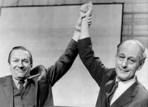 Gilles Grégoire, chef du RN, et René Lévesque, leader du MSA Source : Le Soleil, 15 octobre 1968