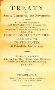 Page frontispice de la publication du texte du traité en 1795 à Philadelphie