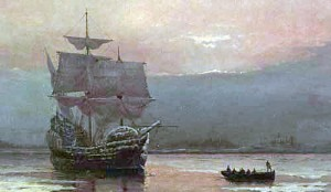 Le Mayflower dans le port de Plymouth Huile de William Halsall (1882) Source : Pilgrim Hall Museum