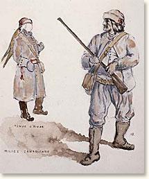 La milice canadienne en tenue d'hiver.  Aquarelle anonyme Source : BAC