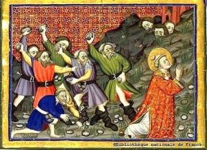 La lapidation de saint Étienne Enluminure médiévale anonyme Source : BNC