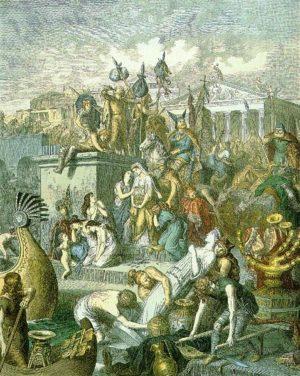 Les Vandales pillant Rome Gravure sur métal d'Heinrich Leutemann (XIXe siècle)