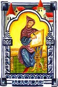 Enluminure médiévale anonyme d'un moine dans un scriptorium Source : Wikimedia Commons
