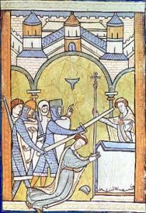 Le meurtre de Thomas Becket Enluminure médiévale anonyme (ca1200)