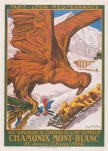 Affiche des jeux de 1924 à Chamonix par Auguste Matisse Source : Wikimedia Commons