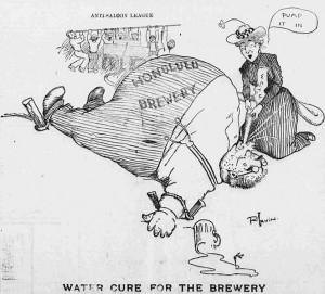 Cure d'eau pour les brasseries Caricature de R. Irvin Source : The Hawaiian Gazette (1902)
