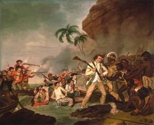 La mort du capitaine Cook Huile sur toile de George Carter (1783) Source : Bernice P. Bishop Museum