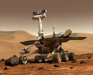 Vue artistique d'un rover d'exploration martienne Photo : NASA/JPL/Cornell University, Maas Digital LLC (2003)