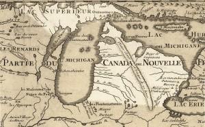 Extrait de la Carte de la Louisiane et du cours du Mississippi par Guillaume de L'Isle (1718) Source : Wikimedia Commons