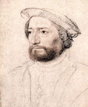 Jean de la Roque, seigneur de Poix-en-Rothelois, sieur de Roberval-en-Valois Portait au crayon et à la sanguine de Jean Clouet (ca1535) Source : Musée Condé