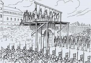 Pendaison des patriotes au Pied-du-Courant Dessin d'Henri Julien (XIXe siècle)