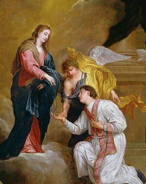 Saint Valentin à genoux devant la Vierge Huile sur toile de David Teniers l'Ancien (XVIIe siècle) Source : Wikimedia Commons