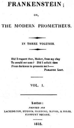 Page titre de la première édition de Frankenstein Londres, Lackington, Hughes, Harding, Mavor & Jones, 1818