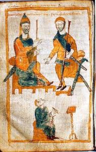 Charlemagne et Pépin le Bossu Copie du Xe siècle des Annales de Fulda Source : Wikimedia Commons