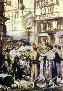 La Barricade Aquarelle sur papier d'Édouard Manet (1871) Source : Musée de beaux-arts de Budapest