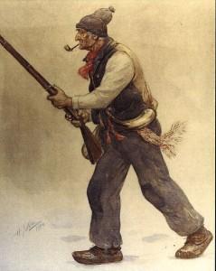 Un Vieux de '37 Gouache sur papier brun d'Henri Julien (1904)