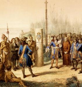 La Salle proclamant la Louisiane territoire français Lithographie de Jean-Adolphe Bocquin. Imprimée à Paris chez lemercier & Cie (ca1870)