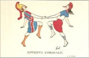 La danse de Britannia et Marianne Carte postale anonyme (1904) Source : Wikimedia commmons