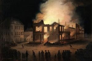 L'incendie du Parlement à Montréal Huile sur bois attribuée à Joseph Légaré (ca1849) Source : Wikimedia Commons